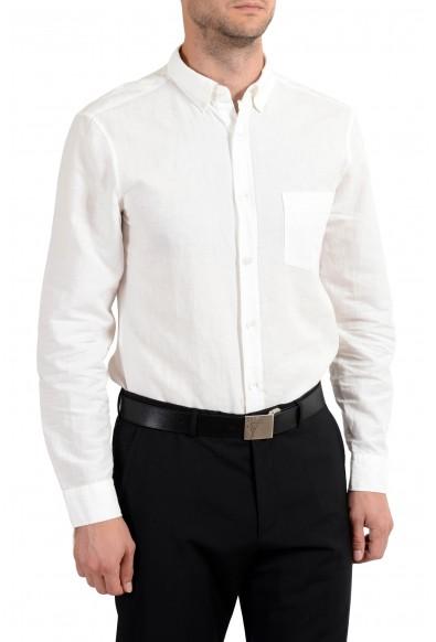 Burberry Brit Men's Linen White Button-Down Long Sleeve Casual Shirt: Picture 2