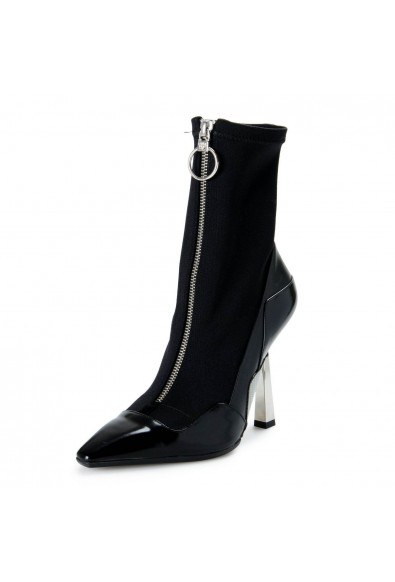 Versace Women's Black Layered Effect High Heels Ankle Boots Shoes