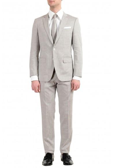 "Hugo Boss ""Hutson5/Gander3"" Men's Linen Wool Gray Slim Two Button Suit"