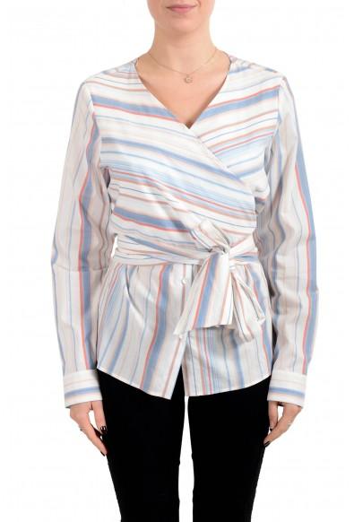 "Hugo Boss Women's ""Barap"" Striped Belted Blouse Top"
