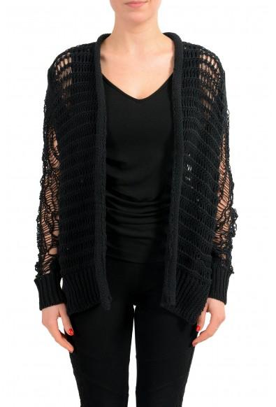 Maison Margiela 1 Black Distressed Women's Buttonless Cardigan Sweater