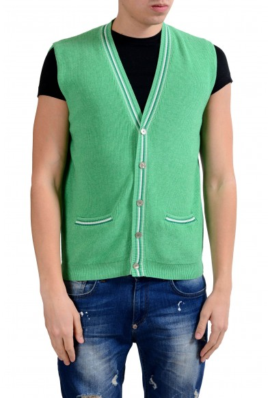 Malo Men's Green Silk Cashmere Button Up Knitted Vest