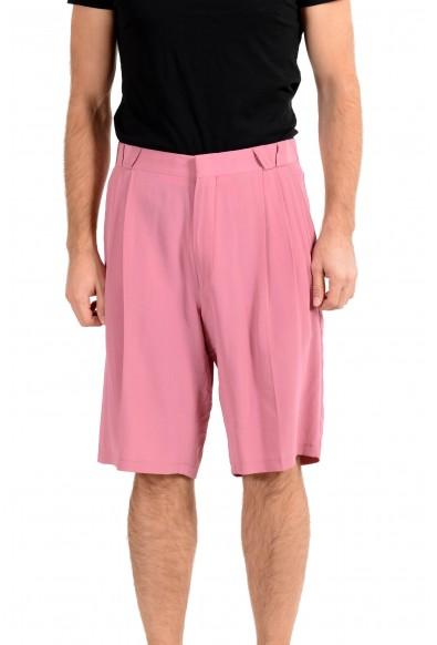 Versace Men's Purplish Pink 100% Silk Pleated Shorts