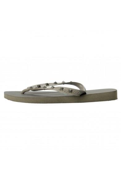 Valentino Garavani By Havaianas Women's Rockstud Army Gray Flip Flops Shoes: Picture 2