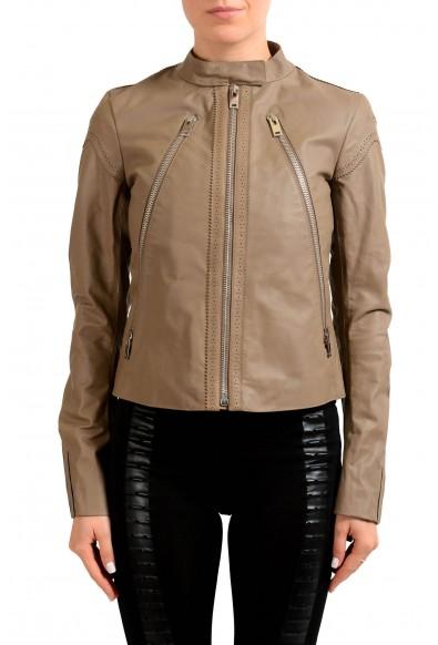 Maison Margiela 1 100% Calf Leather Gray Full Zip Women's Basic Jacket