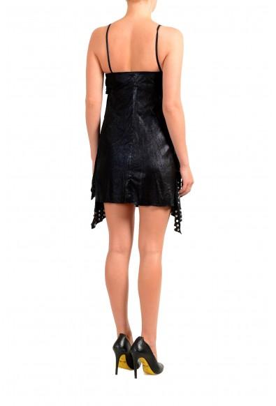 Just Cavalli Women's Black Leather Metal Studs Decorated Mini Dress: Picture 2