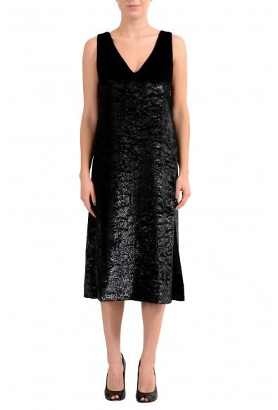 "Hugo Boss ""Didani"" Women's Black Velour Sleeveless Sheath Dress"