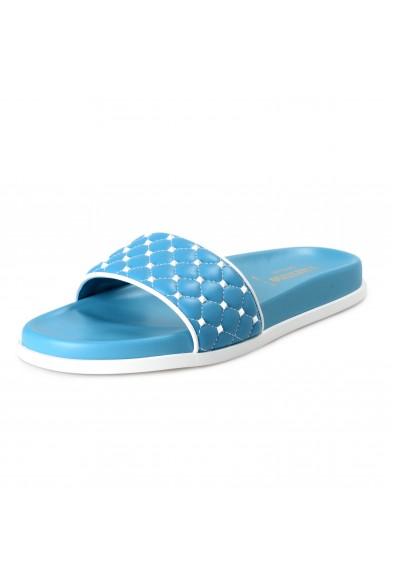 Valentino Women's Blue Leather Rockstud Flip Flops Sandals Shoes