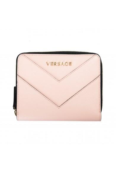 Versace Women's Powder Pink Saffiano Leather Zip Around Wallet