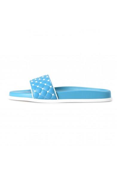 Valentino Women's Blue Leather Rockstud Flip Flops Sandals Shoes: Picture 2