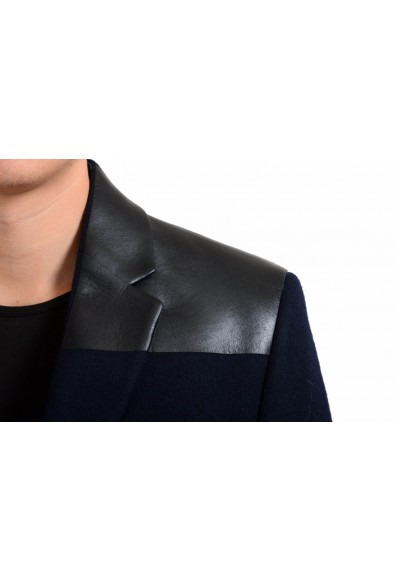 Velentino Men's 100% Wool Leather Navy Blue Two Button Coat: Picture 2