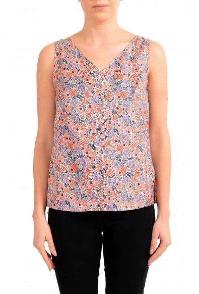 "Hugo Boss Women's ""Ibla"" Floral Print 100% Silk Sleeveless Blouse Top"