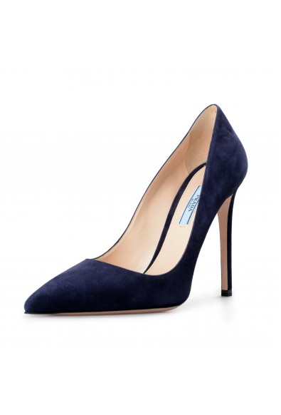 Prada Women's Navy Blue 11939F Suede Leather High Heel Pumps Shoes