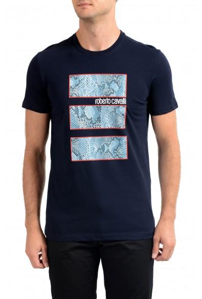 Roberto Cavalli Men's Navy Blue Graphic Print T-Shirt
