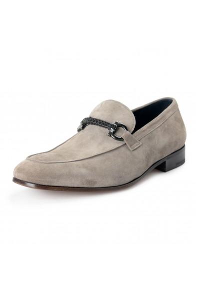 "Salvatore Ferragamo Men's ""Cross"" Gray Suede Leather Loafers Slip On Shoes"