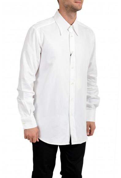 Dolce & Gabbana Men's White Striped Long Sleeve Button Down Dress Shirt