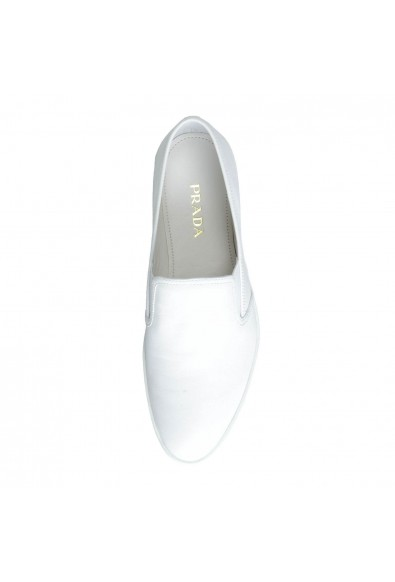 Prada Women's White Leather Moccasins Loafers Flats Shoes: Picture 2