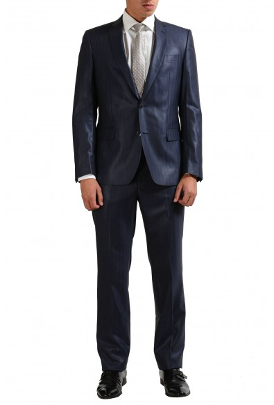 Vesrace Collection 100% Wool Navy Striped Two Button Men's Suit