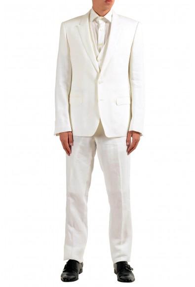 "Dolce & Gabbana ""Martini"" Men's 100% Linen White Two Button Three Piece Suit"