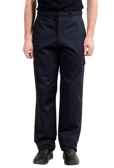 Exte Men's Dark Blue Belted Casual Cargo Pants
