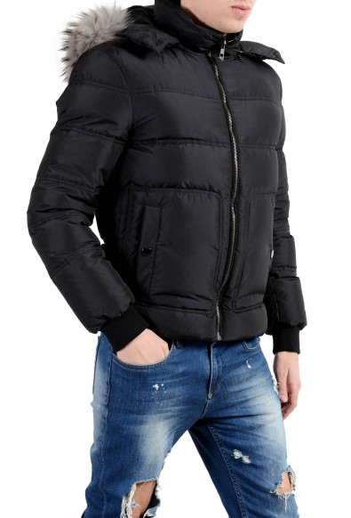 Versace Collection Men's Coyote Fur Down Black Full Zip Hooded Parka Jacket: Picture 2