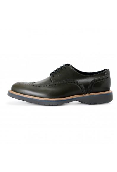 Salvatore Ferragamo Men's FUERTE Green Leather Oxfords Shoes: Picture 2