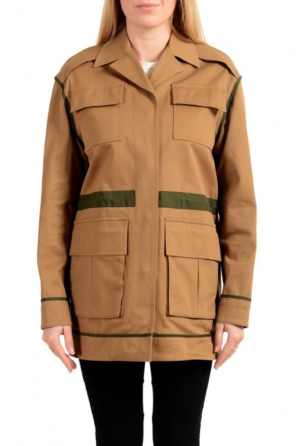 Versace Women's Brown Button Down Blazer Jacket Coat