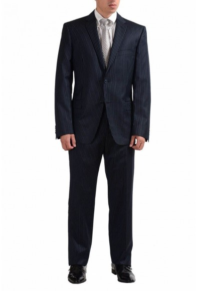 Versace Collection Men's 100% Wool Striped Two Button Suit