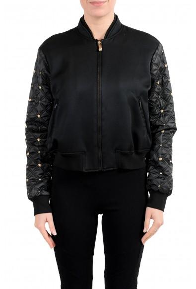 Versace Women's Black Studded Full Zip Bomber Jacket
