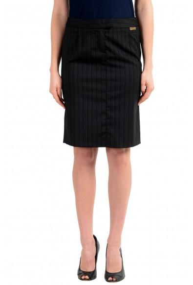 John Galliano Women's Black Wool Striped Pencil Skirt