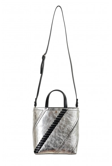 Proenza Schouler Women's Silver Textured Leather Tote Handbag Shoulder Bag