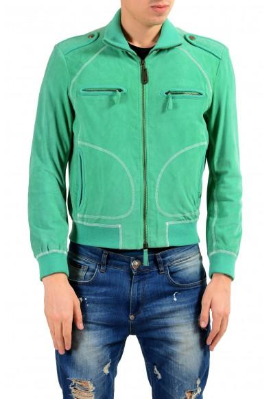 Just Cavalli Men's 100% Suede Leather Green Full Zip Jacket