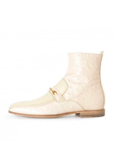 Versace Men's Beige Ostrich Skin Leather Ankle Boots Shoes: Picture 2