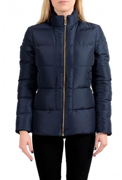 Versace Collection Women's Navy Blue Down Full Zip Parka Jacket