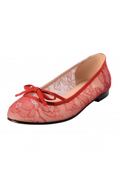 Valentino Garavani Women's Red Vintage Lace Ballerinas Flat Shoes