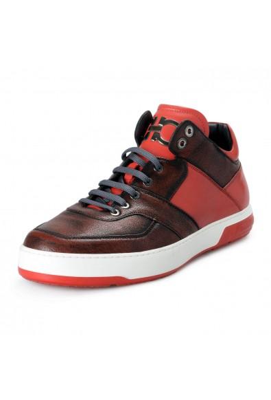 "Salvatore Ferragamo Men's ""Monroe"" Red Leather Fashion Sneakers Shoes"