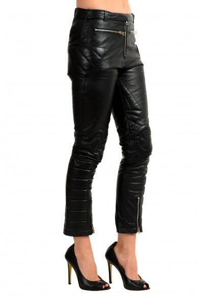 Maison Margiela MM6 100% Leather Black Women's Casual Pants: Picture 2