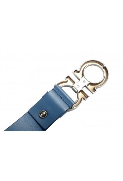 Salvatore Ferragamo Men's Blue 100% Leather Buckle Decorated Belt: Picture 2