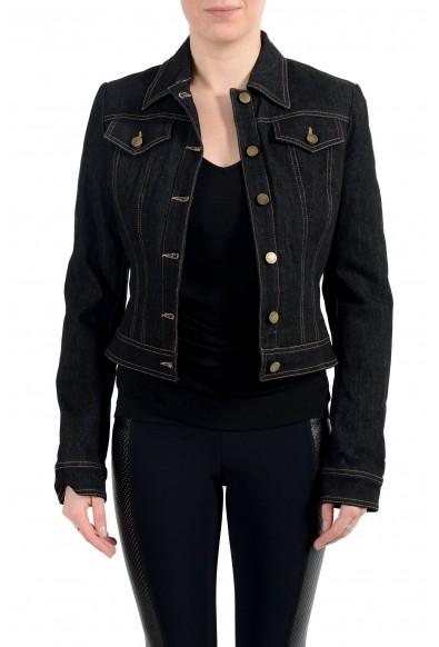 Roberto Cavalli Women's Off Black Lightly Insulated Denim Jacket