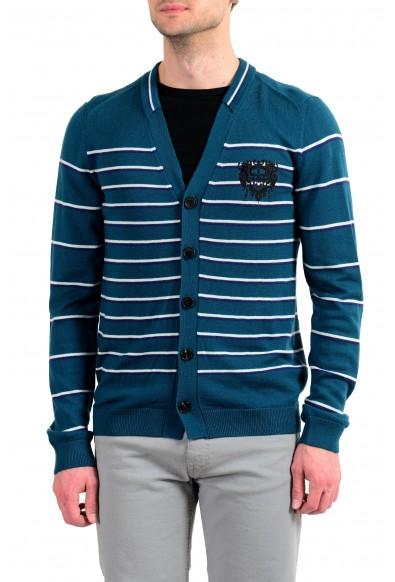 Just Cavalli Men's 100% Wool Striped Cardigan Sweater