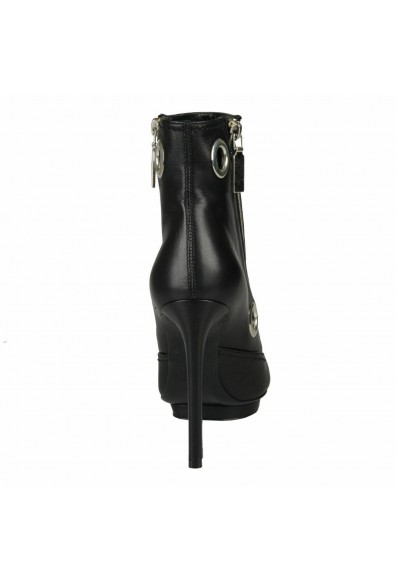 Alexander Mcqueen Women's Black Leather High Heel Ankle Boots Shoes: Picture 2