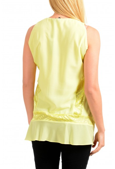 Just Cavalli Women's Yellow Sleeveless Deep V-Neck Blouse Top: Picture 2