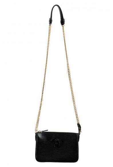 Versace 100% Leather Black Removable Chain Strap Women's Crossbody Shoulder Bag