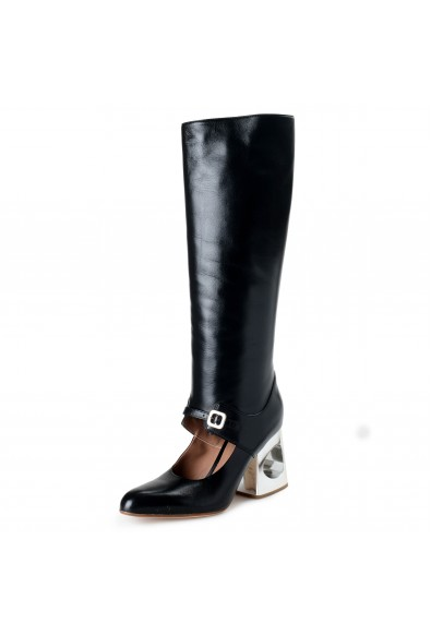 Marni Women's Black Leather Knee High High Heel Boots Shoes