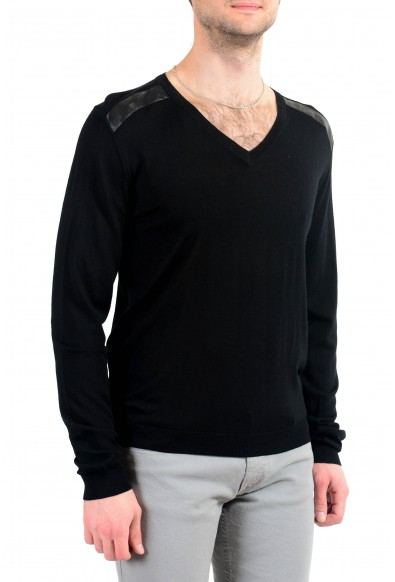 Just Cavalli Men's Black V-Neck 100% Wool Pullover Sweater: Picture 2