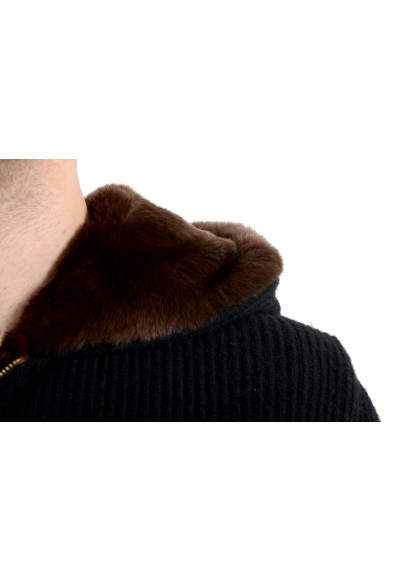Versace Men's Wool Cashmere Rabbit Fur Zipped Hooded Knitted Jacket: Picture 2