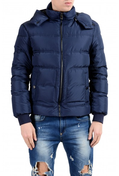 Versace Collection Men's Down Blue Full Zip Hooded Parka Jacket