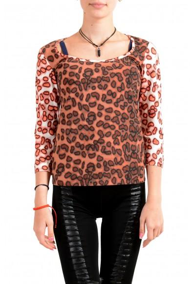 Just Cavalli Women's Multi-Color Animal Print 3/4 Sleeve T-Shirt Top