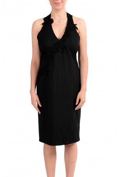 Exte Women's Gray Wool Striped Halter Dress