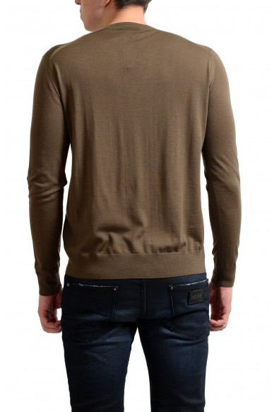 Prada Men's 100% Wool Brown V-Neck Pullover Sweater: Picture 2